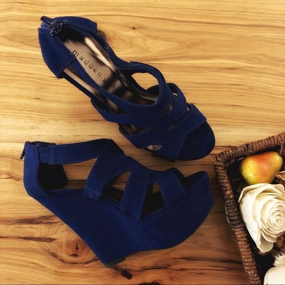 e442d750c23d Madden Girl Shoes - Madden Girl Navy Blue Wedge Platform High Heels